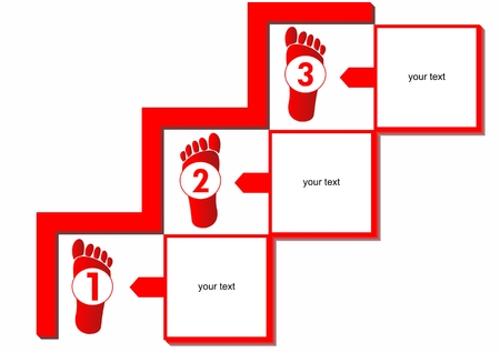 Workflow in three steps with human traces on the stairs in red design Vector