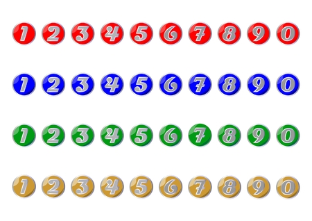Set of colored icons with numbers from zero to nine Vector