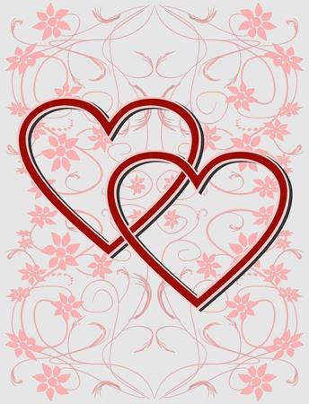 rejoicing: Giorno di San Valentino sfondo con cuori e nastri in progettazione rosso scuro