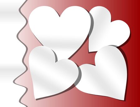 four color printing: Red gradient background with white paper cut heart Illustration