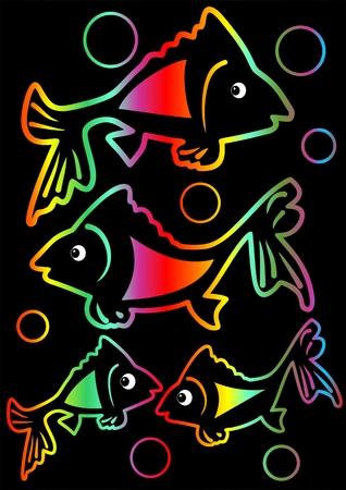 pet breeding: Cheerful rainbow neon tricksy fishes on black background