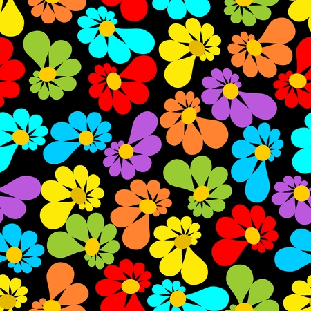 Strong contrasting seamless background with asymmetrical flowers on black area Vector