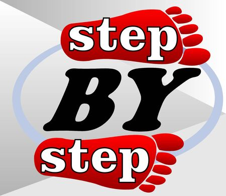 Step by step emblem for workflow presentation with red footprints Vector