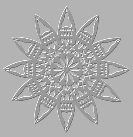 Zilver opluchting geometrische symmetrische cirkel decoratief motief Stock Illustratie