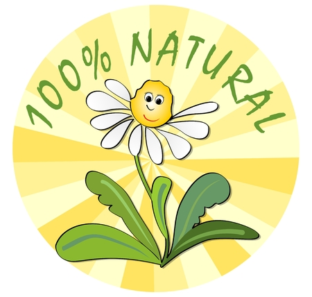 ecological environment: Label for 100 % natural product from ecological environment with funny flower with face Illustration