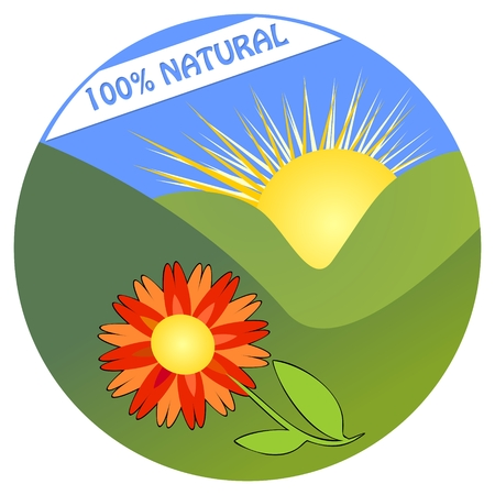 nourishment: Label for 100 % natural product from ecological environment with colorful flower in landscape with mountain and sun Illustration