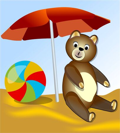 lounging: Teddy bear with colorful ball resting on the sea under the red umbrella Illustration