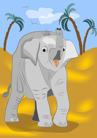 jaunty: Small curious elephant is going to explore the desert Illustration