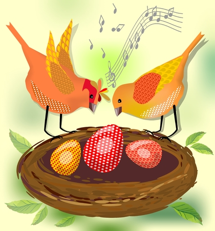 Spring motif with two singing birds by nest with eggs. Image for acquisition of joy and optimism Vector