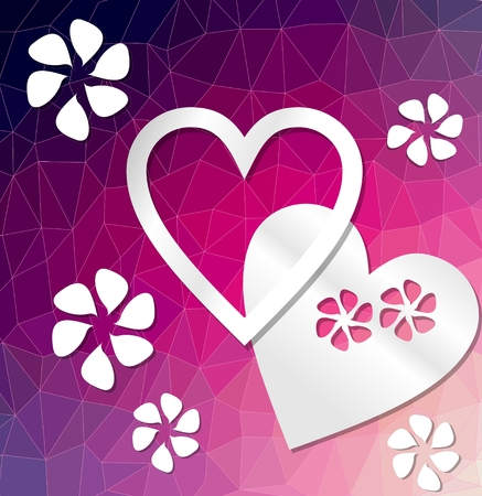 deep purple: Modern deep purple decorative background with heart and flowers cut out of paper on triangle area Illustration