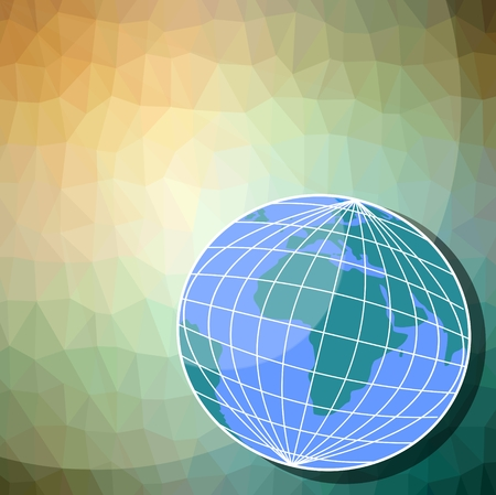 Triangle background in yellow and green with a globe - eastern hemisphere. For use in the environmental field, With place for own text.