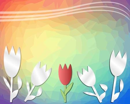 spring out: Fondo decorativo tri�ngulo del arco iris de la primavera con tulipanes recortados de papel. Con lugar para propio texto.