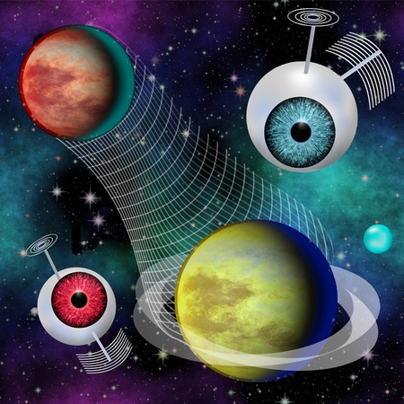 phantasy: Futuristic Phantasy image Interplanetary information communication network with two satelit objects Stock Photo