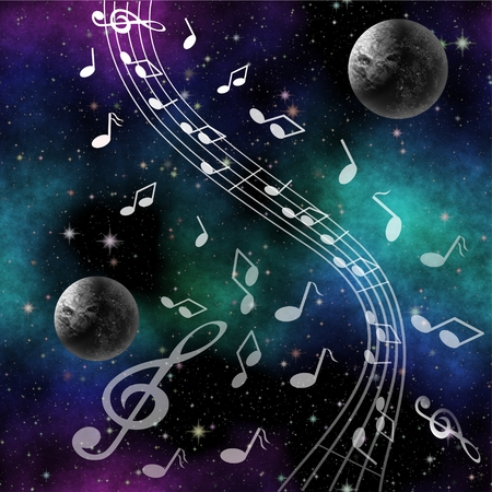 Fantasy image Music of space with planets and treble clef on nebula background
