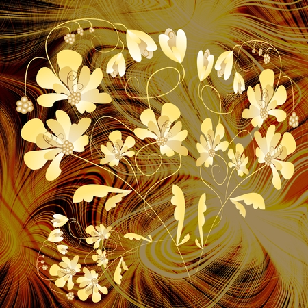 amorphous: Composition Yellow fantasy flowers on computer generated fractal background