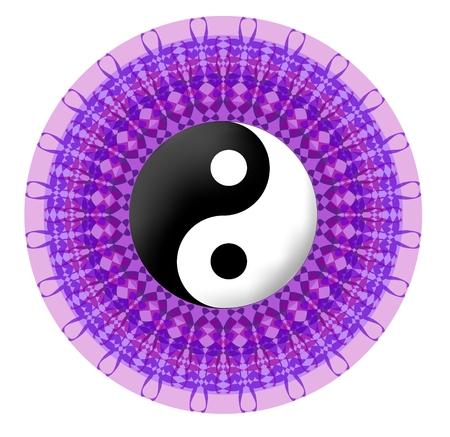 Circle purple vector mandala with jin jang symbol Ilustrace