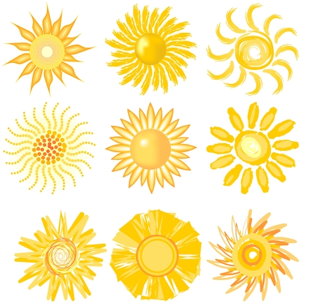 A set of sun image in various vector technic for optimismus obtaining Vector