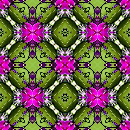 contrasting: Vintage background tile with rhomboid patterns in contrasting purple and green