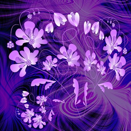 phantasy: Phantasy purple composition with classic vintage floral patterns on fractal background