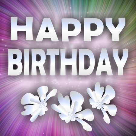 unobtrusive: Unobtrusive happy birthday background with silver inscription and flower on pink and green rays background Stock Photo