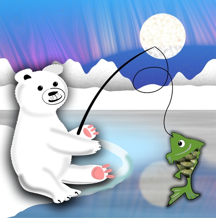floe: Plush polar bear with fish line on the ice floe, illustration for kids