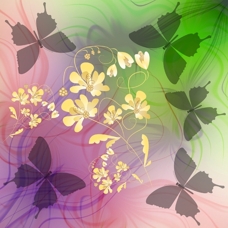phantasy: Phantasy background with transparent butterflies silhouettes and flower on fractal background in pink and green colors