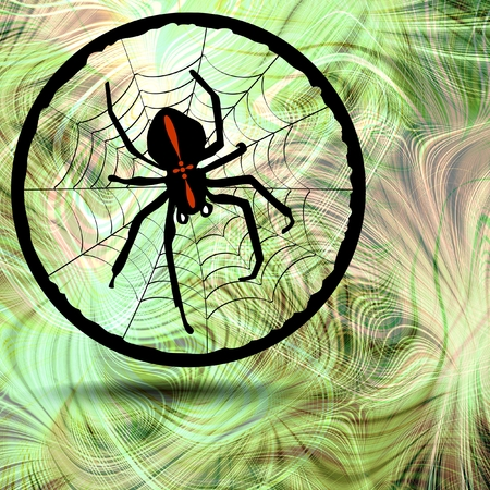 Phantasy image Crusader spider in his cobweb in circle element on fractal background photo