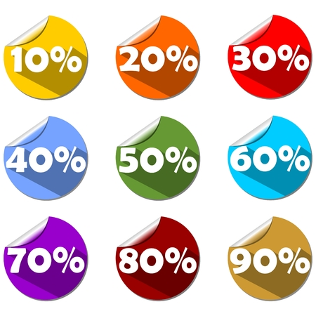 A set of percent label on rolled paper circle in different colors. For use in shop, market or presentation. Modern flat design with long shadow. Vector