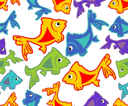 plunging: Cheerful vector background with vivid colored fish cartoons on white area