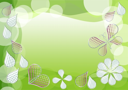 morphing: Spring green vector background with morphing dotted drops, leafs, heart and butterfly