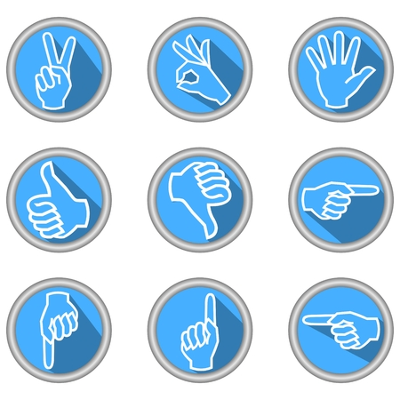 A set of icons with hand gestures in modern flat design with long shadow Vector