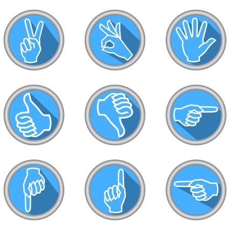 dedo me�ique: Un conjunto de iconos con gestos de la mano en el dise�o moderno apartamento con una larga sombra Vectores