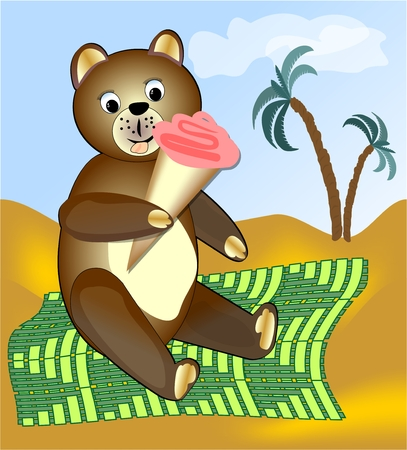 lounging: Teddy bear eating ice cream on green blanket. A image for children or advertising sales of ice cream