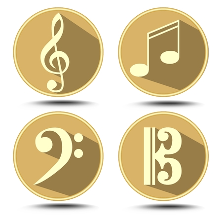 bass clef: A set of music symbol in circle with long shadow. Treble clef, bass clef, music note