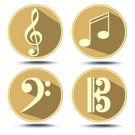 clave de fa: Un conjunto de símbolo de la música en el círculo con una larga sombra. Clef agudo, clef bajo, nota de la música