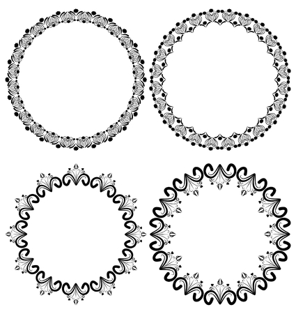 Vintage Art Deco Circle Frames In White And Black Outline Royalty ...