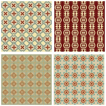 ностальгический: Набор фоне плитки в стиле арт-деко с простыми геометрическими узорами в бежевый, красный и зеленый ностальгического оттенка