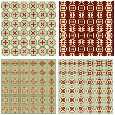 nostalgic: Set of background tiles in art deco style with simple geometric patterns in beige, red and green nostalgic color shade