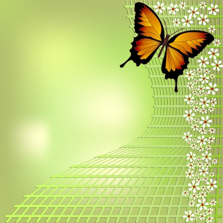 own: Joyful green bokeh spring background with yellow butterfly and small white flowers on grid. For your spring design, you can place your own text