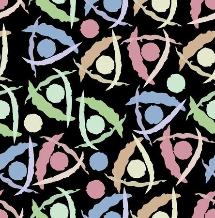 pink green: Fondo abstracto sin fisuras de baldosas moderna con el grunge tri�ngulo y c�rculo patrones en colores rosa, verde, azul y beige Vectores