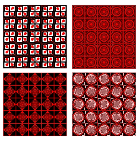 four color printing: Set of four background tiles in red, white and black design with fine geometric symmetric patterns
