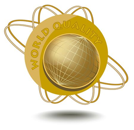 golden globe: Emblem world quality with globe motif in golden design. An sticker for products of high quality.