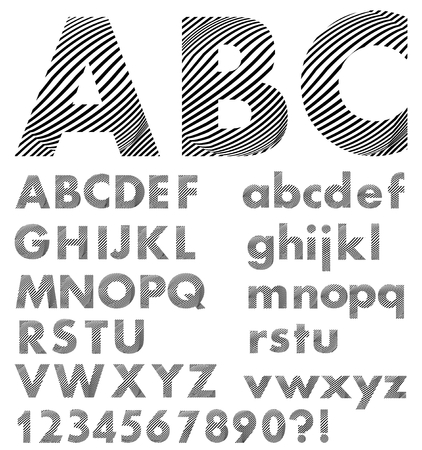Alphabet in style zebra skin, uppercase and lowercase letters in black and white design, numbers, question and exclamation mark Vector