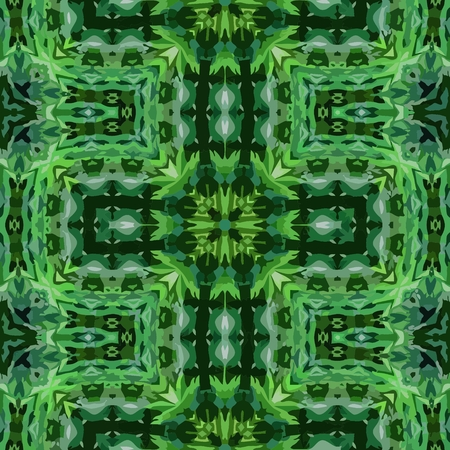 folklore: Vector background ornamental green tile in South American folklore  style Illustration