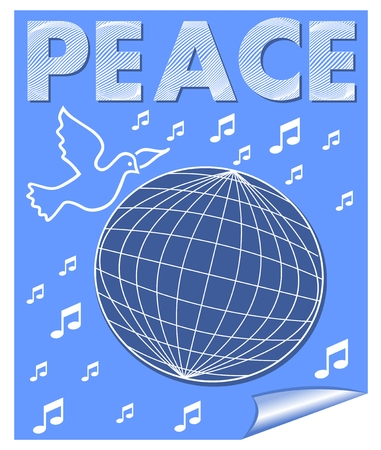 banner of peace: Peace vector banner with dove flying over the globe and music symbols. White drawing on blue background.