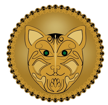 ritual: Ritual amulet with cat head in golden circle Illustration
