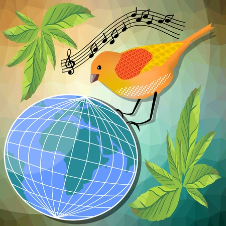 canto: Ecological or peace vector illustration with little bird sitting of globe. Triangle patterned background with green leafs. Musical theme with notes