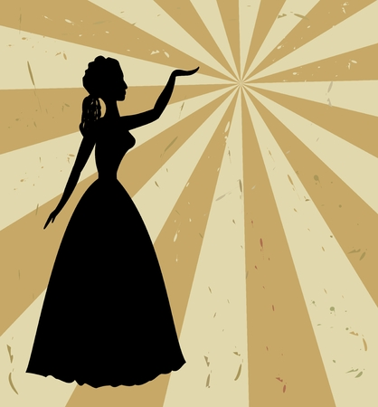 thirties: Vintage retro background with black woman silhouette in thirties style Illustration