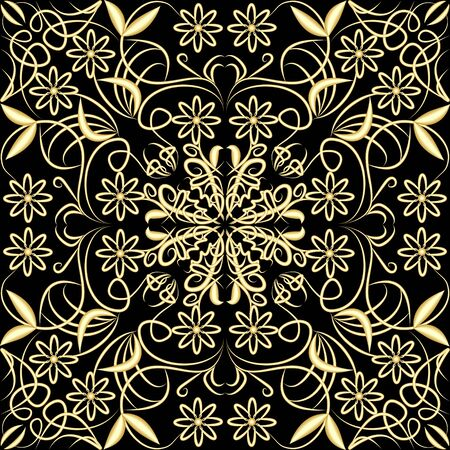 Gold patterned vintage grid with floral and swirl motif on black background