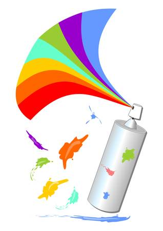 smirch: Spray with a rainbow fan and colorful blot
